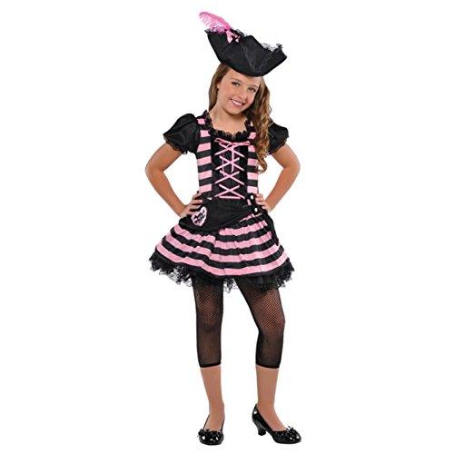 Kostüm Piratin Gr. 110 114 Pirat mit Hut Karneval neu rosa schwarz Mädchen Kinder