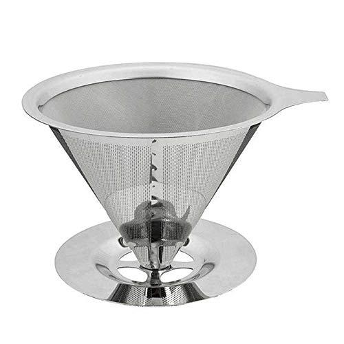Merrday Gießen Sie über Kaffee Dripper, Edelstahl gießen über Kaffeemaschine Dripper Wiederverwendbare Drip Cone Kaffee Filter Single Tasse Kaffee Brewer - 4 Kaffee-filter Cone