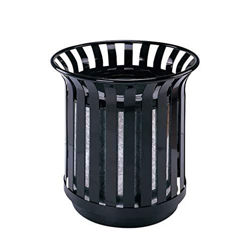 eisen-Abfalleimer im Freien, europäischer Retro- Garten-Park-Garten-Abfall Abfall & Recycling (Color : Black, Größe : 62cm) ()