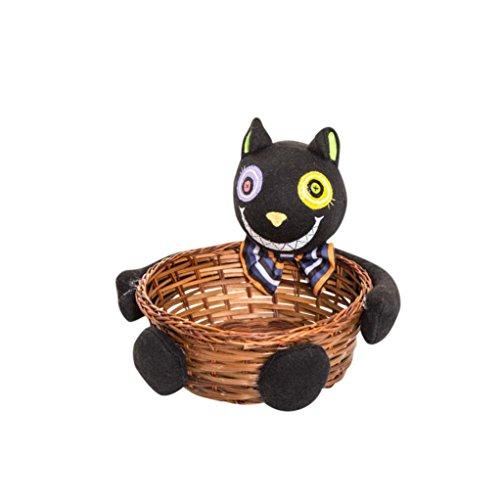 Xmansky Halloween Party Hexen Geister Fledermäuse Kürbisse Süßigkeiten Lagerung Korb Geschenk (Schwarz)