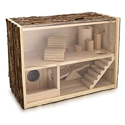 Navaris Natural Wood Hamster House - Wooden Hamster Play House with Toy Ramps, Bridge and Hideout for Hamsters, Gerbils and Mice - 39 x 20 x 27.5 cm from KW-Commerce