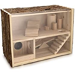 Navaris Maison pour Hamster en Bois - Cage Aire de Jeu pour Hamster Souris Rat Chinchilla et Petits rongeurs - Abri 1 étage avec Fermeture Possible
