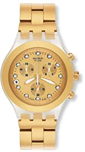 Reloj Swatch Core Collection unisex de cuarzo, correa de acero inoxidable color oro con cronómetro