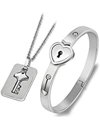 Vikas gift gallery engraved lock and key stainless steel couple bracelet pendent necklace set for boys, girls, men and women