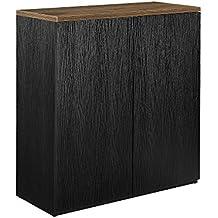[neu.haus] Armario para oficina negro 100x90cm roble ahumado estantería despacho mobiliario oficina