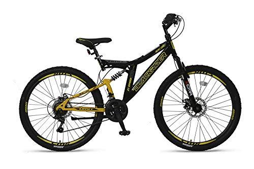 """Altec 26\"""" 26 Zoll Kinder Herren Jugend Fahrrad MTB Kinderfahrrad Mountainbike Bike Rad Vollfederung Fully 21 Gang Shimano Scheibenbremse Black Rider Schwarz Gelb"""