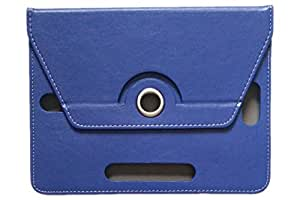 """KANICT 360° Rotating 7""""inch Tablet Leather Flip Case Cover Compatible for Swipe MTV Slash 3G Front Back Book Stand -Blue"""