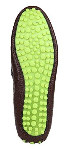 Digni Casual Faux Mocassins Chaussures en cuir Partie hommes porter des chaussures confortables Marron foncé