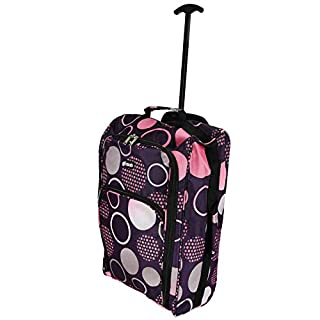 Ryanair Approved Wheeled Cabin Bag - Hand Luggage Trolley - Lightweight Flight Suitcase - Many different styles -  (Purple/Circles)