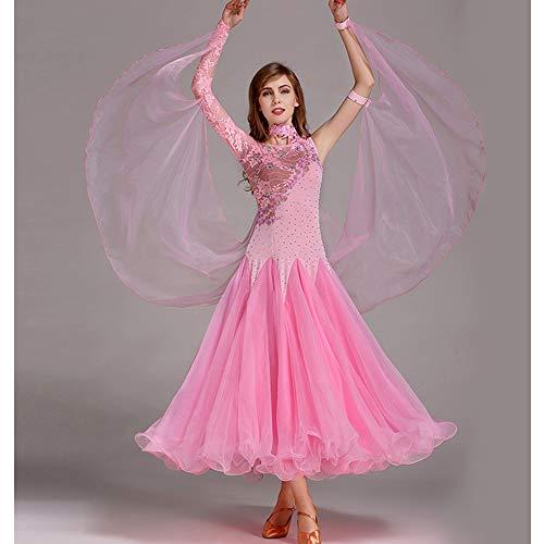 QMKJ Frauen Latin Dance Kostüme Bauchtanz Rock Pink handgefertigte Pailletten Ballroom Dancing Kostüme Full Rock Hemden Moderne Mode 2018 XL 2XL,XXL