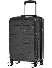 AmazonBasics Pyramid 55 Cm Black Hardsided Carry-On Trolley Suitcase with TSA Lock and Scratch Resistant Surface- 20 Inch