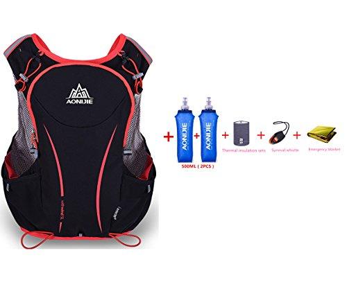 Imagen de aonijie 5l  de nailon impermeable, para maratón, ciclismo, running chaleco, bolsa de deporte + 2 botellas de agua de 500 ml, s/m