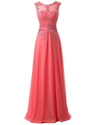 Clearbridal Damen Chiffon Lange Ballkleider Abschusskleider Abendkleider mit Applikation CSD181...