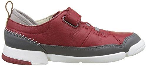 Clarks Tri Scotty Jnr, Sneakers basses garçon Rouge (Red Combi)
