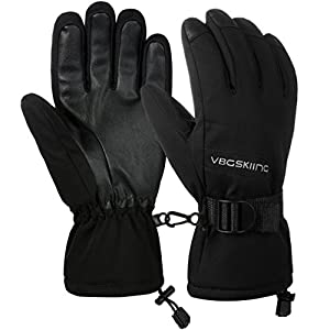 Vbiger Skihandschuhe Herren Winterhandschuhe Outdoor Sports Handschuhe Entworfen Wärme verdickt Wasserdicht Winddicht PU für Herren und Damen