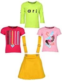 Gkidz Girls Pack of 3 Printed Cotton T-shirts with 1 Pack Stretchable Dungree Skirt (JG-GRAPHICCMB5_N_003DNGRE-YLW_Multicolor )