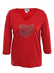 NCAA Ohio State Buckeyes Women's V-Neck 3/4 Sleeve Top with Bling State Home, Small, Red