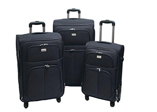 Trolley valigia set valigie semirigide set bagagli in tessuto super leggeri 4 ruote piroettanti trolley piccolo adatto per cabina con compagnie lowcost art.214 (Nero)