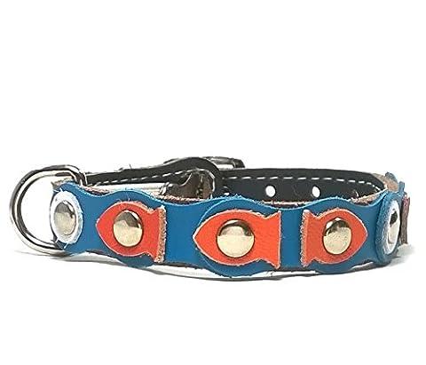 Leder Katzen-halsband mit Elastisch Sicherheitsverschluss | Orange Goldfische in Blauen Wellen