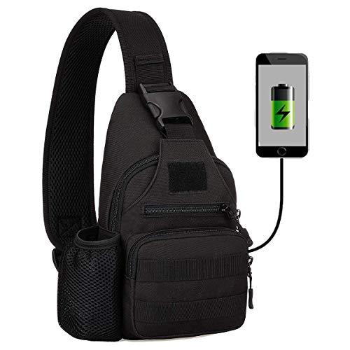 Huntvp Zaino Monospalla Uomo Tattico Borsa Petto Impermeabile Borsa a Tracolla Militare con USB Ricaricabile Porta Bottiglia(Nero)