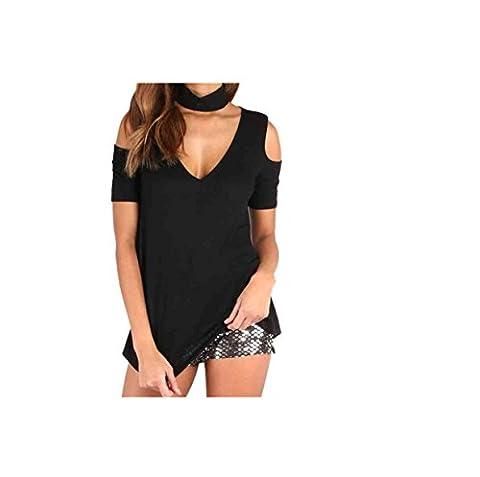Longra Femmes V Neck Épaules Off Shoulder T-shirt manches Courtes (XL, Noir)