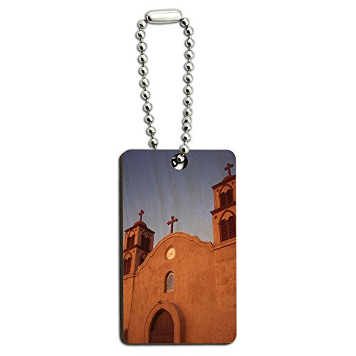 Mission-kette (Old San Miguel Mission–Adobe Kirche New Mexico) Holz Rechteck Schlüssel Kette)