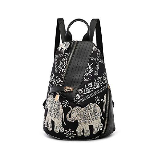 VIccoo Bolsa de Hombro con Estampado de Elefante Moda para Mujer Mochila Estampado en Color Mochila de Viaje Bolso de Mano de Nylon Mochila de día para el Viaje Escolar - 1#