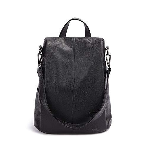 DANANGUA Rucksack Weibliche Neue Frauen Pu-leder Rucksack Tasche Diebstahl Hochwertige Urban Fashion Rucksäcke Für Mädchen (Color : Black backpack, Size : M)