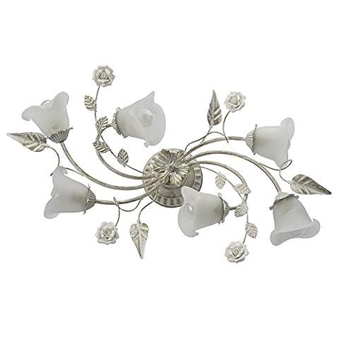 Plafonnier moderne de style floral en métal couleur blanc et or et abat-jours en verre décorés avec des fleurs en céramique, pour salon ou chambre à coucher pour bas plafond Ø20cm 6 ampoules E14 6x60W 230V