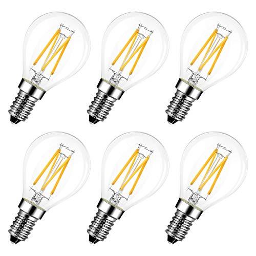 LVWIT E14 LED Lampe P45, Tropfenform, 4W (ersetzt 40W), 2700K warmweiß, 6er-Pack, Filament Mini Globe, ultrahell 470 lm, Rustikalampe Filamentstil klar, nicht dimmbar