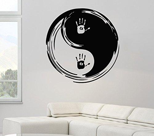 zhuziji Art Designed Wandsticker Traditionelles chinesisches Ying Yang Muster mit Aufdruck Cooles Wandbild Home Livingroom Special Deco 86x86cm