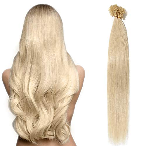 Extension capelli veri umani cheratina 50 ciocche bionde u tip hair extension 100% remy human hair 55cm-50g #60 biondo platino