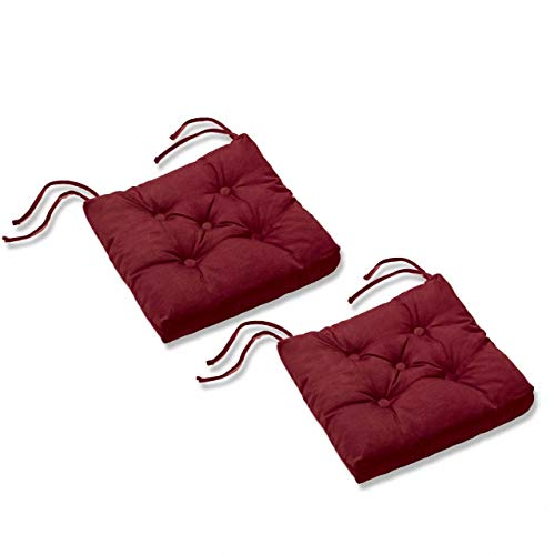 etérea Sitzkissen Stuhlkissen mit 5-Punkt Knopfsteppung Steppkissen Elton - 2er Set - 42x42 cm - Bordeaux -