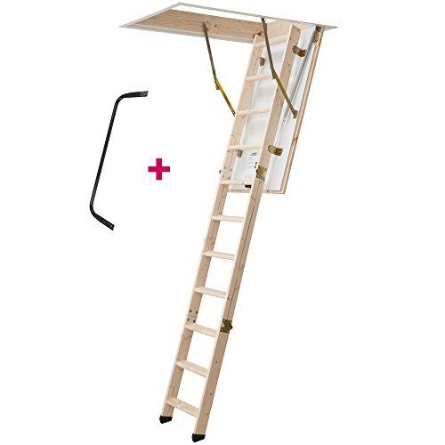 DOLLE Bodentreppe, wärmegedämmt, 120 x 70 cm, 3-teiliges Leiternteil, Lichte Raumhöhe bis 285 cm. U-Wert 1,30. Inkl. Bedienstab und Handlauf. 150 kg Traglast. Dachbodenluke, Dachstiege, Dachbodentreppe.