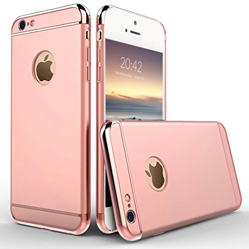 6S Plus Case, Feikai 3 in 1 Ultra Thin Slim Coated Premium Non Slip Matte Surface Electroplate Frame Plating Metal Texture Skin Hard Case Cover With Ring Holder Stand for iPhone 6 Plus / 6S Plus Gray 3in1 6S Plus Rose Gold