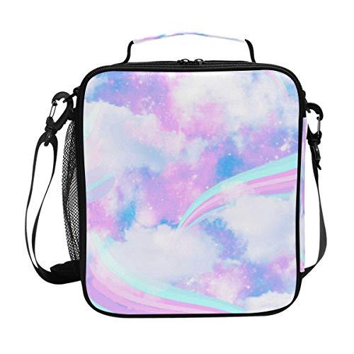 Hunihuni - Bolsa de almuerzo aislada para galaxia, arcoíris y nube, con correa para el hombro ajustable para adultos y niños