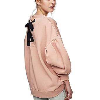 Rosa Felpe Donna Larghe Lunghe Inverno Tumblr Sportive Eleganti Felpa Abbigliamento (S, rosa)