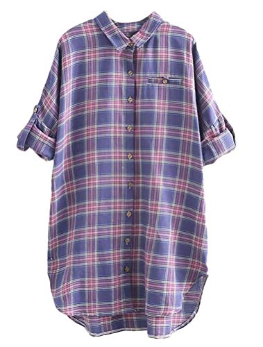 Mallimoda Damen Hemd Langarm Kariert Oversize T-Shirt Tops Lila M