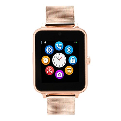 Huhu833 Bluetooth Smartwatch, Z60 Plus Smartwatch Schrittzähler Sitzende Erinnerung Schlaf Monitor Remote Kamera für iPhone IOS und Android Smartphones (Roségold)