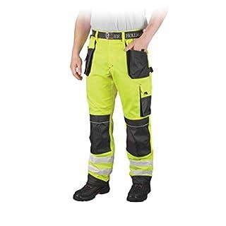 Warnschutzhose mit Reflektionsstreifen orange neon gelb Arbeitshose Warnschutz Reflektionsstreifen 62 neongelb