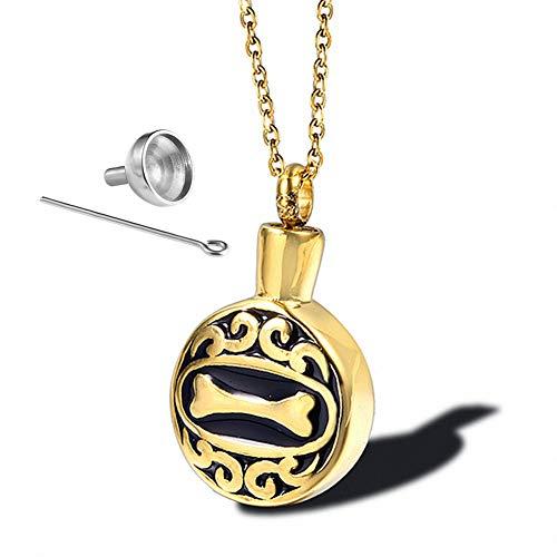 Y.L Master Collar De Hueso Perro Colgante Cenizas Acero Inoxidable para Seres Queridos CorazóN Urna Memorial Ceniza Recuerdo,Gold