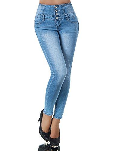 N708 Damen Jeans Hose Corsage Damenjeans High Waist Röhrenjeans Hochbund Blau