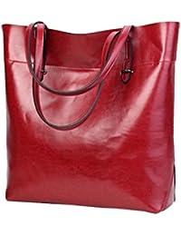bolsos de mujer grandes, Sannysis bolsos mujer bandolera baratos Bolsos De Mujer Tote Bolsas De Hombro Gran tapa de cuero de la PU Mensajero Bolso organizador de bolso Satchel Bag (rojo)