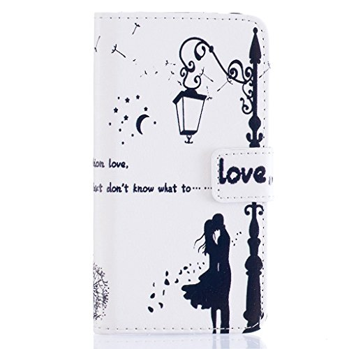 CareyNoce Apple 5C Coque,Flip Housse Etui Cuir PU Coque pour Apple iPhone 5C (4.0 pouces) -- DON'T TOUCH MY PHONE Love Kiss # 1