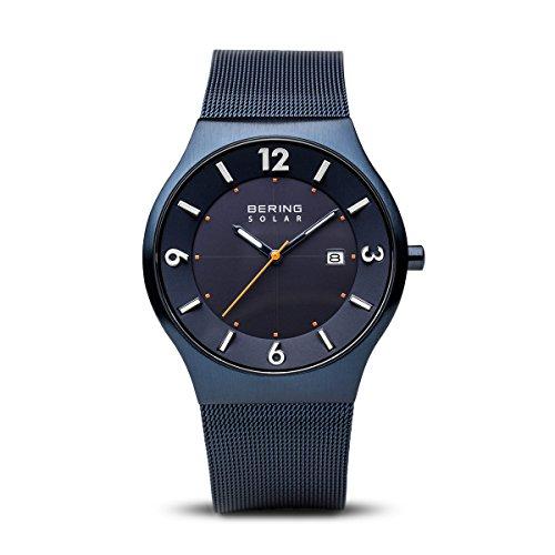 Bering Herren-Armbanduhr Analog Milanaise Blau 14440-393 (Uhren Oro Männer)