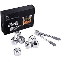 TaoTronics 8pzs Cubitos de Hielo Reutilizables, Cubos Enfriadores Whisky Piedras (Acero Inoxidable, con pinza y bandeja con tapa, para enfriar Whisky, Sidra, Vino, Cerveza) Aprobados por FDA