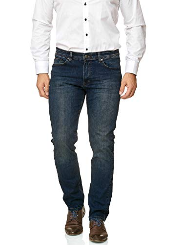 Barbons Herren Jeans - Bügelleicht - Slim-Fit Stretch - Business Freizeit - Hochwertige Jeans-Hose 01-Navy 34W / 34L - Stretch Hose Navy