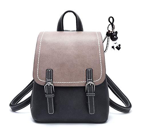DEERWORD Damen Rucksackhandtaschen Schultertaschen Schulrucksack Tagesrucksack Laptoptasche Leder Schwarz -