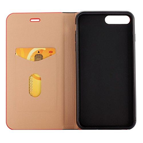 GHC Cases & Covers, Für iPhone 7 Plus Crystal Texture PC Full Coverage Horizontale Flip Leder Tasche mit Halter & Card Slots ( Color : Black ) Black