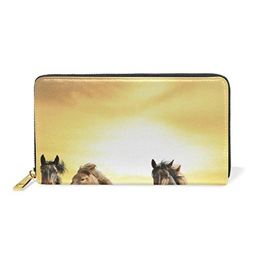 Wild Horse Mustang (BENNIGIRY Damen Geldbörse Wild Horses Mustangs Echtleder lang Clutch Geldbörse mit Reißverschluss)